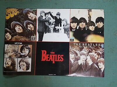 Huge Glossy Beatles Rubber Soul Let it Be Poster Vintage Old Collectable Mancave