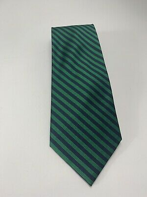 Kent & Cole New York Navy Blue And Green Striped Classic Tie Handmade 100% Silk