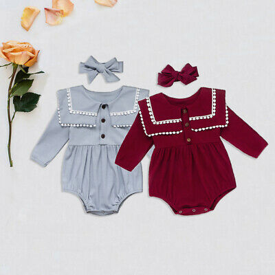 UK 2PCS Newborn Baby Girl Clothes Knitted Tassel Romper Bodysuit Overall Outfits