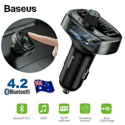 Baseus Handsfree Wireless Bluetooth Car Kit FM Transmitter MP3 USB Charger AU