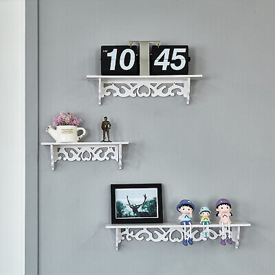 3Pcs Wall Mounted Floating Wall Shelves Hanging Storage Display White Home Décor