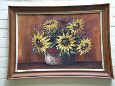 Vintage  Original Still Life Oil Painting Sunflowers Framed Signed Kobald 74