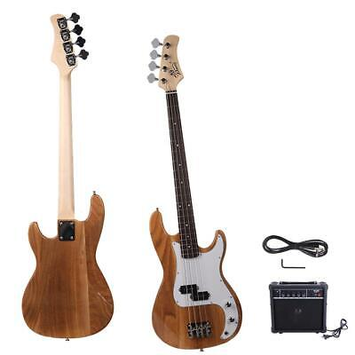 New Natural Glarry Basswood 20 Frets 4 Strings Electric Guitar Bass with AMP