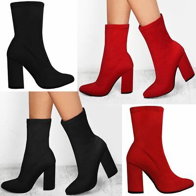 Womens Ladies Ankle Boots Block High Heel Stretch Pull On Party Winter Shoes New