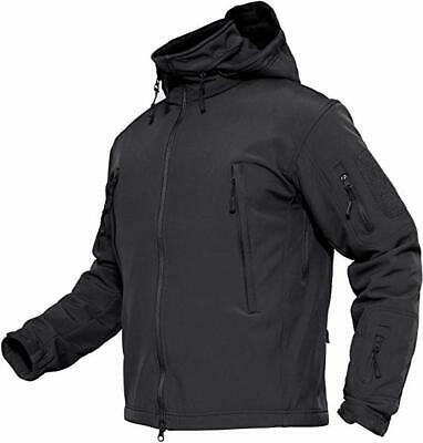 Men Outdoor Waterproof Winter Jacket Coat Soft Shell Tactical Military Black