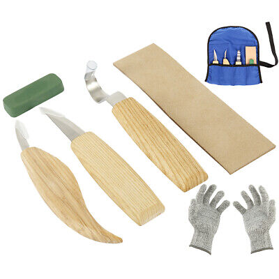 6Pcs Sets Woods Carving Knife Chisel Woodworking Cutter Chip Hand Tool + Gloves