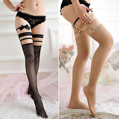 Lady Lace rivet Fishnet Thigh High Hold-up Sexy Stockings Punk Hollow Long Socks