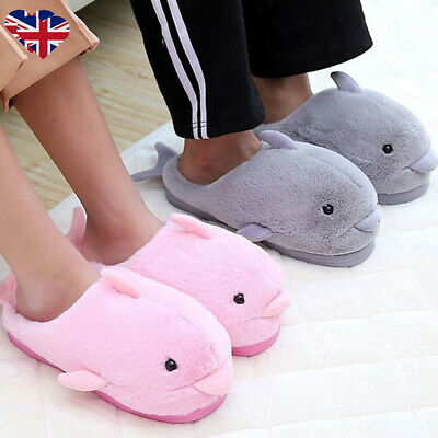 UK Kids Girls Boys Shark Slippers Winter Soft Fur Warm Comfy Home Indoor Shoes