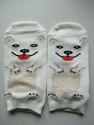 NEW Ladies Girls (1 Pair) Chihuahua or White Alsation Dog Ankle / Trainer Socks