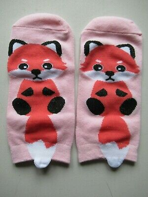 NEW Ladies Girls (1 Pair) Cute Pink Wildlife Fox Ankle / Trainer Socks FREE P&P