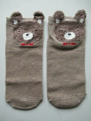 NEW Ladies Girls (1 Pair) Cute Brown Teddy Bear Ankle / Trainer Socks FREE P&P