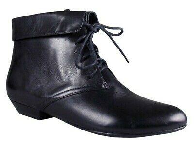 Womens Wittner Mayse Black Leather Lace Up Low Heel Boots Size 39