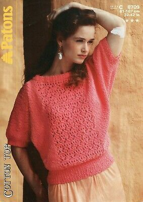"Patons 8709 Lady Lacy Top DK 32-42"" Vintage Knitting Pattern"
