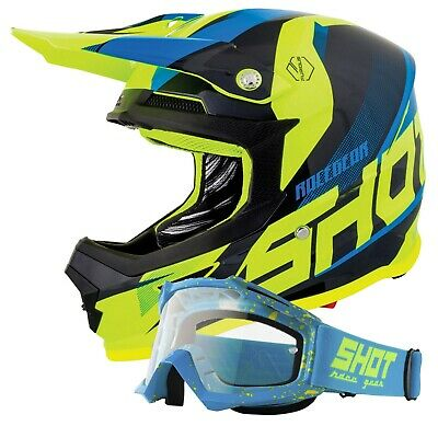 Shot Ultimate Blue Yellow Gloss Motocross Helmet Mx Enduro Quad Free Goggles