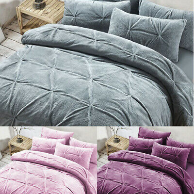 Luxury Teddy Fleece Pinch Pleat Duvet Cover Set Pillowcase Soft Warm New Bedding