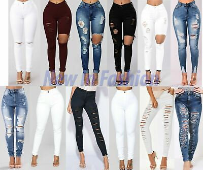 New Womens Ladies  High Waist Ripped Knee Slim Skinny Jeans Ladies Size 6-24