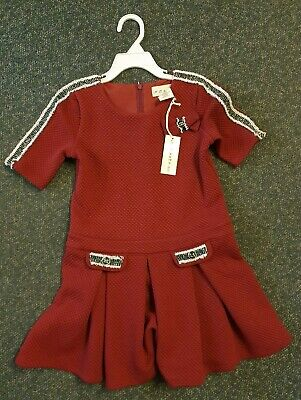 Girls 'If It Were Me' Dress, Deep Red, Lovely Details, Thick Fabric,Age 5-6, New