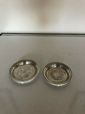 """Two Lovely Highly Decorated Egyptian Silver Pin Dishes ( 85 Grams) 3.25"""" & 3.75"""""""