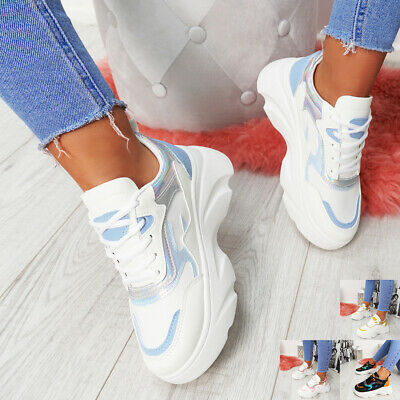 New Womens Chunky Trainers Lace Up Platform Heel Sneakers Ladies Shoes