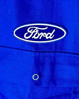 "Superb Classic Style Ford Badged Studded Blue Overalls Boiler Suit 52"" Chest"