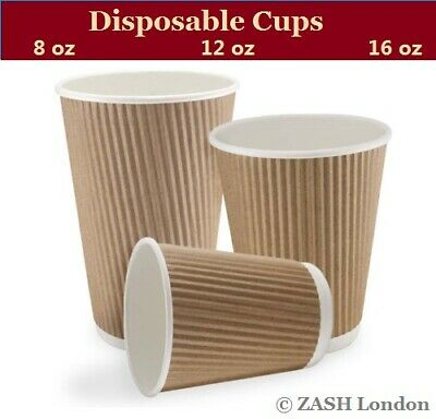 100x Disposable Paper Ripple Brown Cups 8,12,16OZ Party, Coffee,Tea, Takeaway