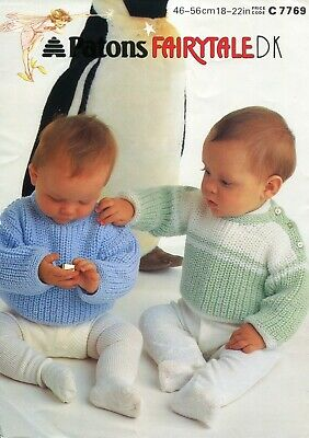 """Patons 7769 Baby Sweaters DK 18-22"""" Vintage Knitting Pattern"""