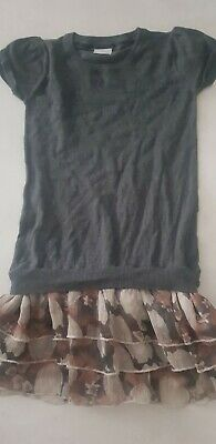 Girls cute Grey Dress/flower frill Bottom,NEXT,7-8y,looks great with tights!!