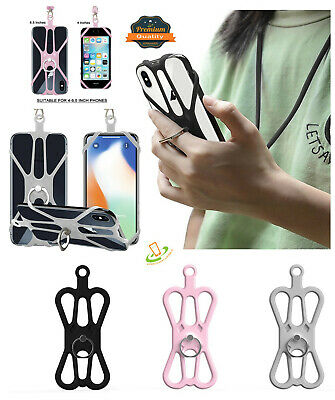 Universal Lanyard Detachable Neck Strap Silicone Case Holder w/ Ring Stand Grip
