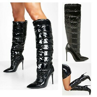Womens Knee High Boots Stiletto Heel Ladies Calf Quilted Black Shine Shoes Size