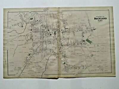 Village & Town Of Rockland,  Town Of South Scituate Ma., Vintage 1879 Map
