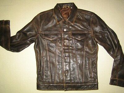 "Levis Buffalo leather trucker jacket, antique brown, superb.  Small 38"" chest"