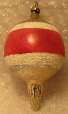 """Antique Glass Christmas Ornament Icicle  Balloon 4"""" Old Patriotic"""