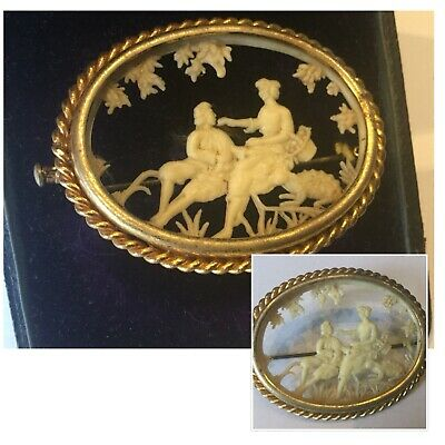 Vintage Art Deco Jewellery French Carved Celluloid Courting Couple Brooch Pin