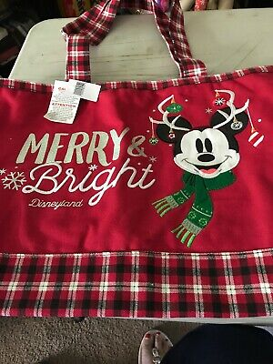 NEW Walt Disney Parks Disneyland Mickey Mouse Merry and Bright Canvas Tote 2018