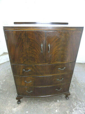 vintage,1930's,Deco,mahogany,bow front,tall boy,drawers,cupboard,cabriole legs,