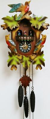 Vintage Black Forest Painted Triple Weight Musical Automaton Cuckoo Wall Clock