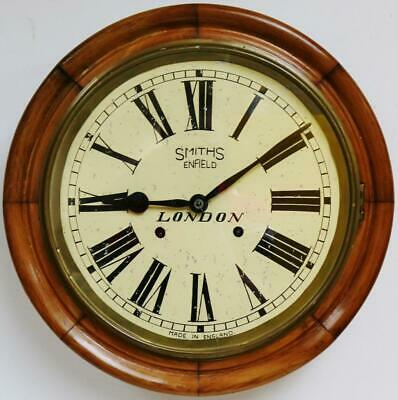 Antique Smiths 8 Day Oak Dial Wall Clock Station Kitchen Wall Clock Circa 1940