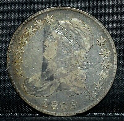 1809 Capped Bust Half Dollar ✪ Fine F ✪ 50C Silver L@@K Now Choice ◢Trusted◣