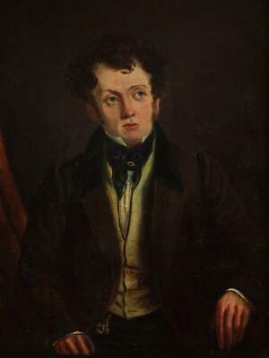 FINE EARLY 19th Century REGENCY PORTRAIT YOUNG GENTLEMAN Antique Oil Painting