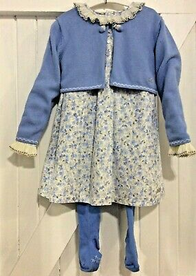 Girls Age 4 years Tutto Piccolo dress outfit cardigan & tights blue Traditional