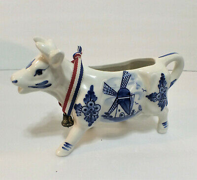 Vintage Delft Blue Holland Hand Painted Windmill Pottery Ceramic Cow Creamer