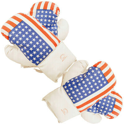 USA Flag 16 Oz Boxing Gloves 2 Pairs Vinyl Leather Gloves Practice Training