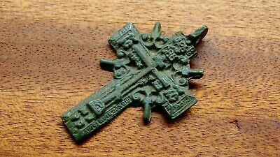 "RARE LARGE 17-18th CENTURY ORTHODOX ""OLD BELIEVERS"" ORNATE ""SUN"" CROSS PSALM 68"