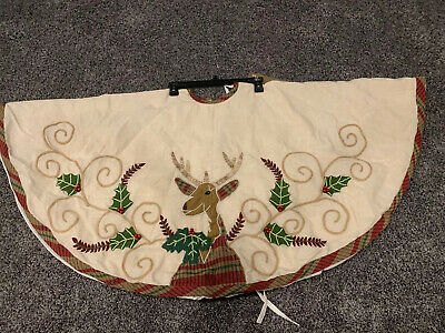 """Details about  /Pier 1 Imports Christmas Tree Skirt 52"""" With Embroidered Trees NWT"""