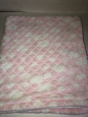 BABY GRAND White Pink Baby BLANKET Mod Pattern Shapes Sherpa Back VGUC SOFT