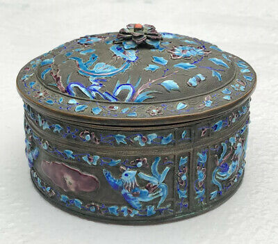 Antique Export Chinese Enamel Bronze Cloisonné Floral Scenery Round Lidded Box