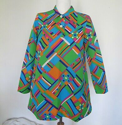 TOP Trapeze SHIRT 70s Vintage SHIRT Bright Psychedelic BLOUSE Geometric Geo