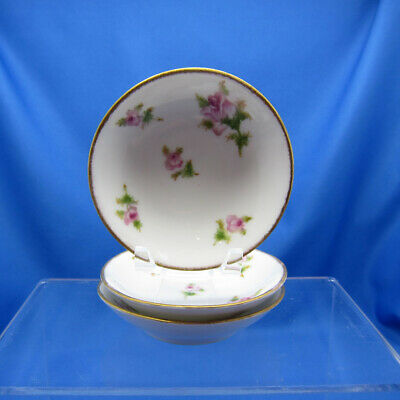 Antique French Limoges Butter Pats, Roses Pattern Set of Three