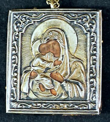 Rare Antique Russian Silver icon of Korsunskaya Mother of God ~ Pendant & Chain