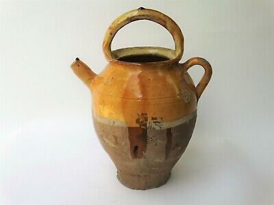 Antique French Pitcher Confit Cruche, Pottery Provence Mustard Yellow